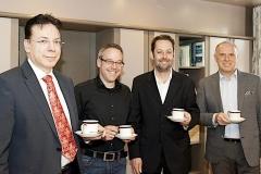 Die Veranstalter des Unternehmerforum freuen sich schon auf den Kaffee beim ersten Business-Frühstück:  Hanns-Lutz Paulweber von der DAK Gesundheit, Wirtschaftsförderer Thomas Schleicher, Bürgermeister Dr. Michael Klinger und Professor Edmund Haupenthal vom Steinbeis-Transferzentrum TOP (v.l.n.r.)