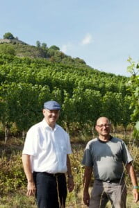 Jürgen Dietrich, Weingutsdirektor Staatsweingut Meersburg, und Thomas Hagenbucher, Betriebsleiter am Weinanbaugebiet Olgaberg am Hohentwiel. Foto: Holger Hagenlocher