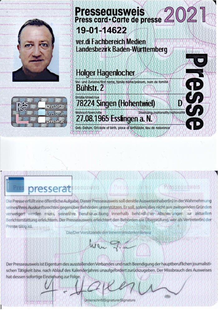 Presseausweis 2021 - Holger Hagenlocher
